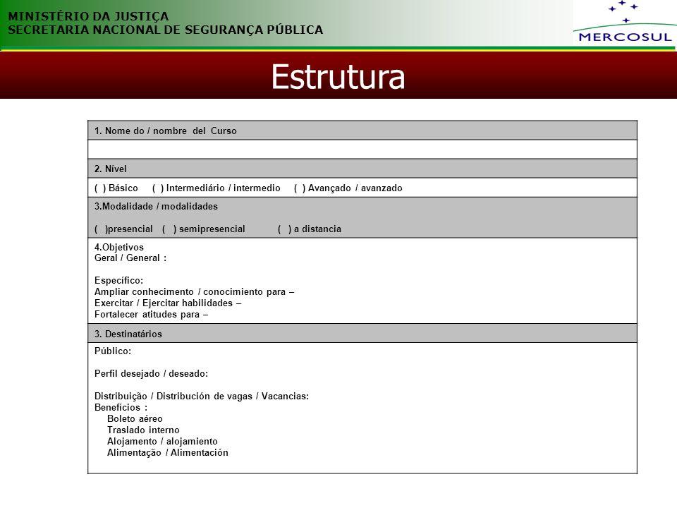 MINISTÉRIO DA JUSTIÇA SECRETARIA NACIONAL DE SEGURANÇA PÚBLICA Estrutura 1. Nome do / nombre del Curso 2. Nível ( ) Básico ( ) Intermediário / interme