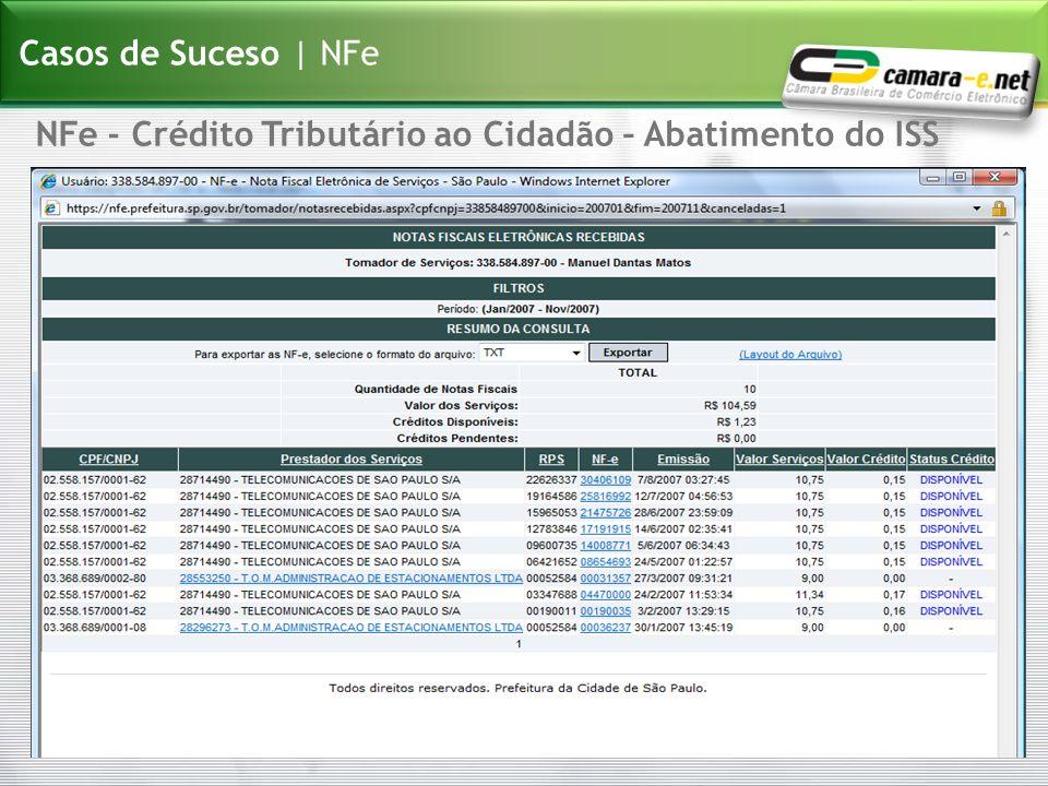 NFe - Crédito Tributário ao Cidadão – Abatimento do ISS Casos de Suceso | NFe