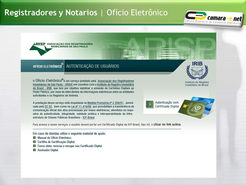 Registradores y Notarios | Ofício Eletrônico