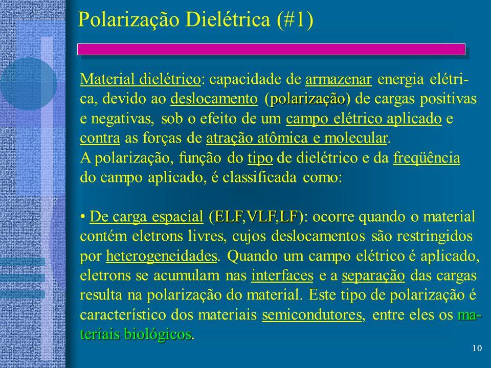 10 Polarização Dielétrica (#1) Material dielétrico: capacidade de armazenar energia elétri- polarização ca, devido ao deslocamento (polarização) de ca