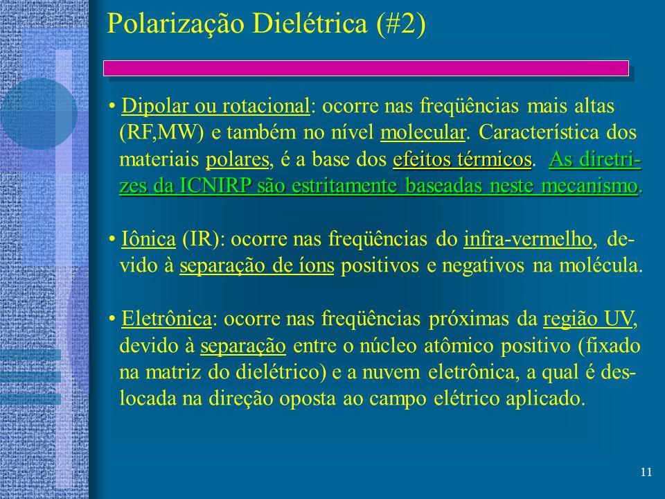 11 Polarização Dielétrica (#2) Dipolar ou rotacional: ocorre nas freqüências mais altas (RF,MW) e também no nível molecular. Característica dos efeito