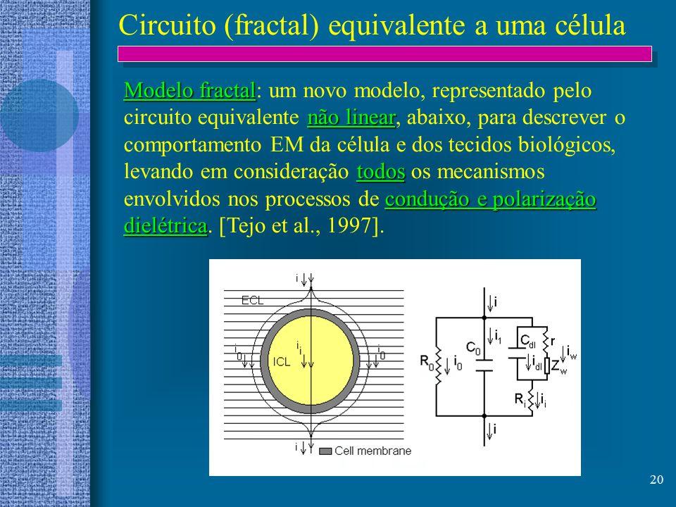 20 Circuito (fractal) equivalente a uma célula Modelo fractal não linear todos condução e polarização dielétrica Modelo fractal: um novo modelo, repre