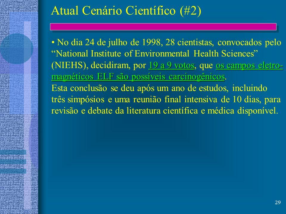 29 Atual Cenário Científico (#2) No dia 24 de julho de 1998, 28 cientistas, convocados pelo National Institute of Environmental Health Sciences 19 a 9