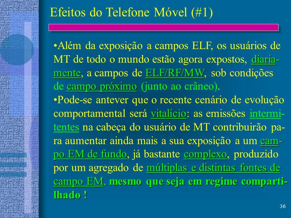 36 Efeitos do Telefone Móvel (#1) Além da exposição a campos ELF, os usuários de diaria- MT de todo o mundo estão agora expostos, diaria- menteELF/RF/