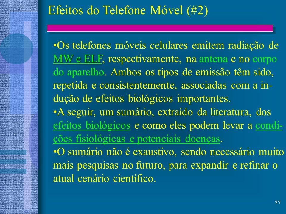 37 Efeitos do Telefone Móvel (#2) Os telefones móveis celulares emitem radiação de MW e ELF MW e ELF, respectivamente, na antena e no corpo do aparelh