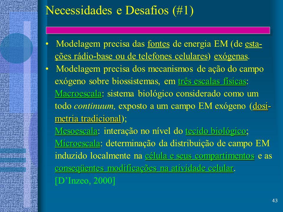 43 Necessidades e Desafios (#1) Modelagem precisa das fontes de energia EM (de esta- ções rádio-base ou de telefones celulares) exógenas. Modelagem pr