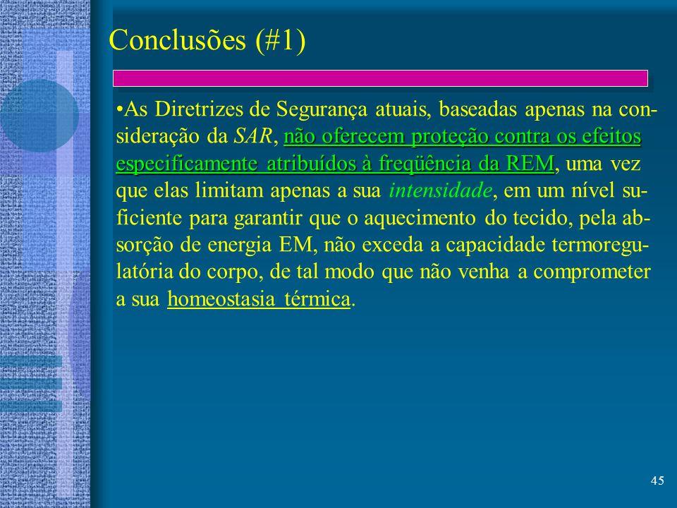 45 Conclusões (#1) As Diretrizes de Segurança atuais, baseadas apenas na con- não oferecem proteção contra os efeitos sideração da SAR, não oferecem p