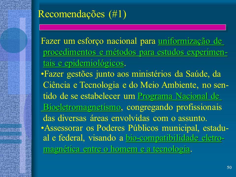 50 Recomendações (#1) uniformização de Fazer um esforço nacional para uniformização de procedimentos e métodos para estudos experimen- procedimentos e