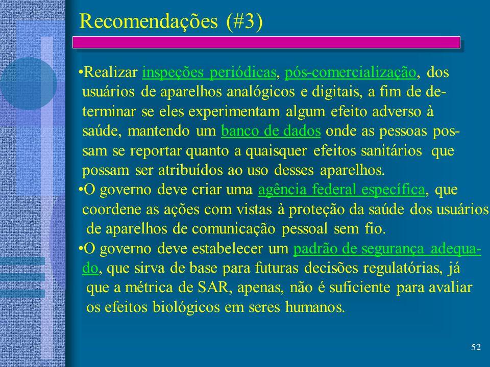 52 Recomendações (#3) Realizar inspeções periódicas, pós-comercialização, dos usuários de aparelhos analógicos e digitais, a fim de de- terminar se el