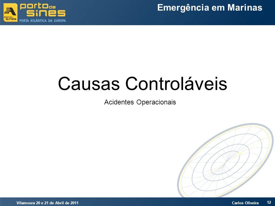 Vilamoura 20 e 21 de Abril de 2011 Carlos Oliveira 12 Emergência em Marinas Causas Controláveis Acidentes Operacionais