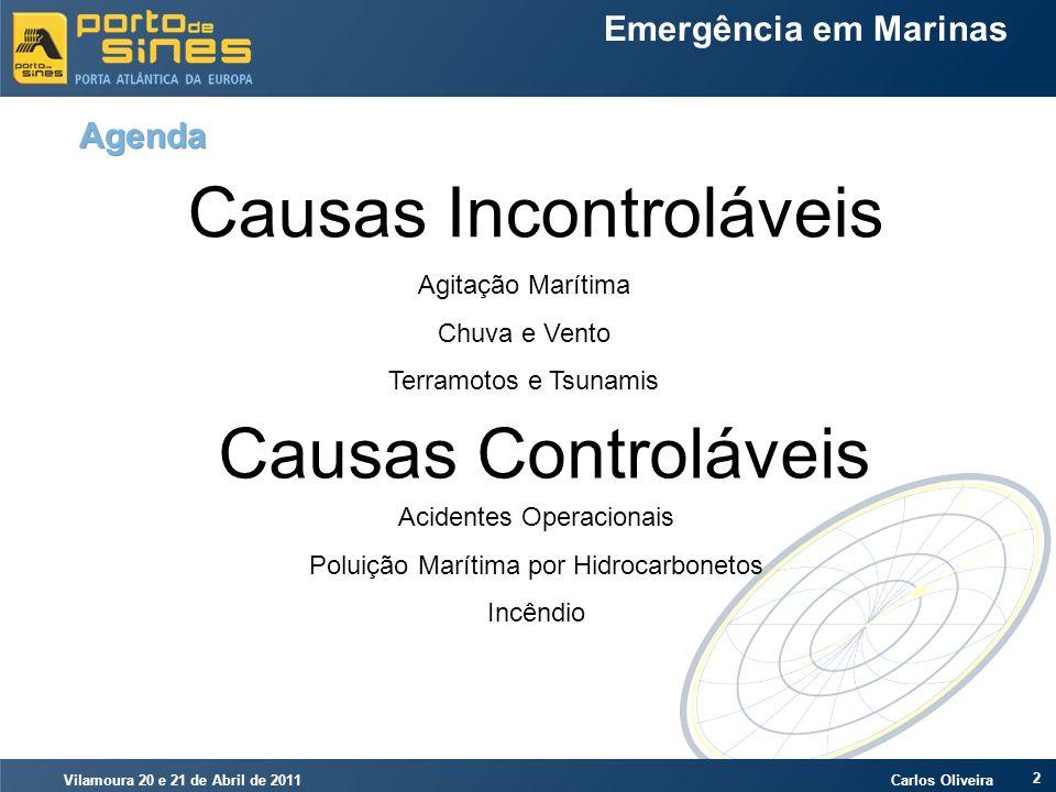 Vilamoura 20 e 21 de Abril de 2011 Carlos Oliveira 2 Emergência em Marinas Agenda Causas Incontroláveis Causas Controláveis Agitação Marítima Chuva e