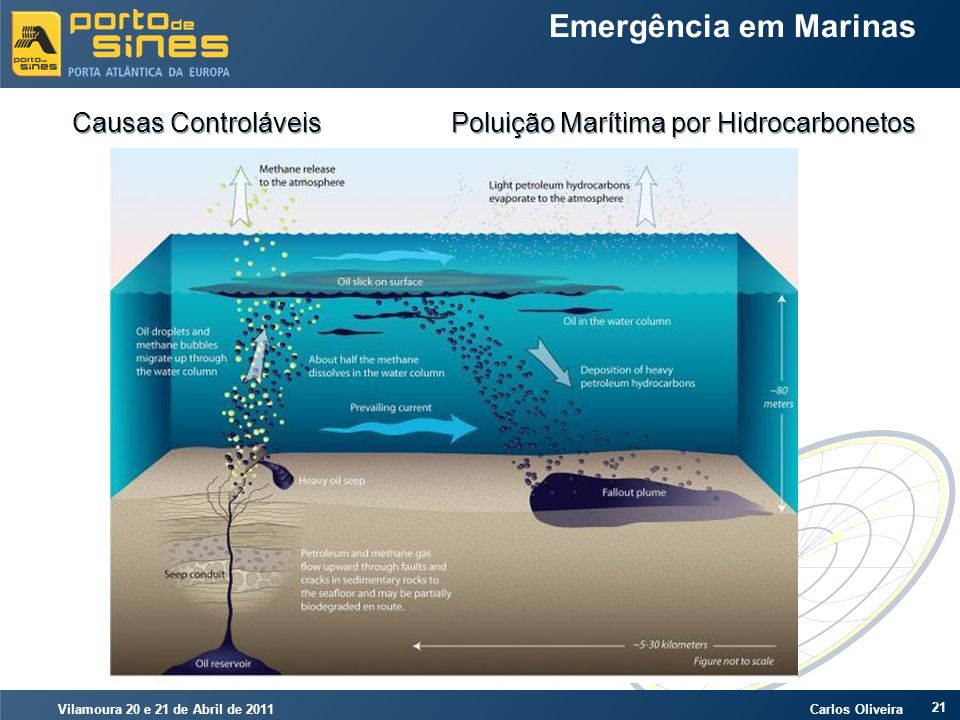 Vilamoura 20 e 21 de Abril de 2011 Carlos Oliveira 21 Emergência em Marinas Causas Controláveis Poluição Marítima por Hidrocarbonetos