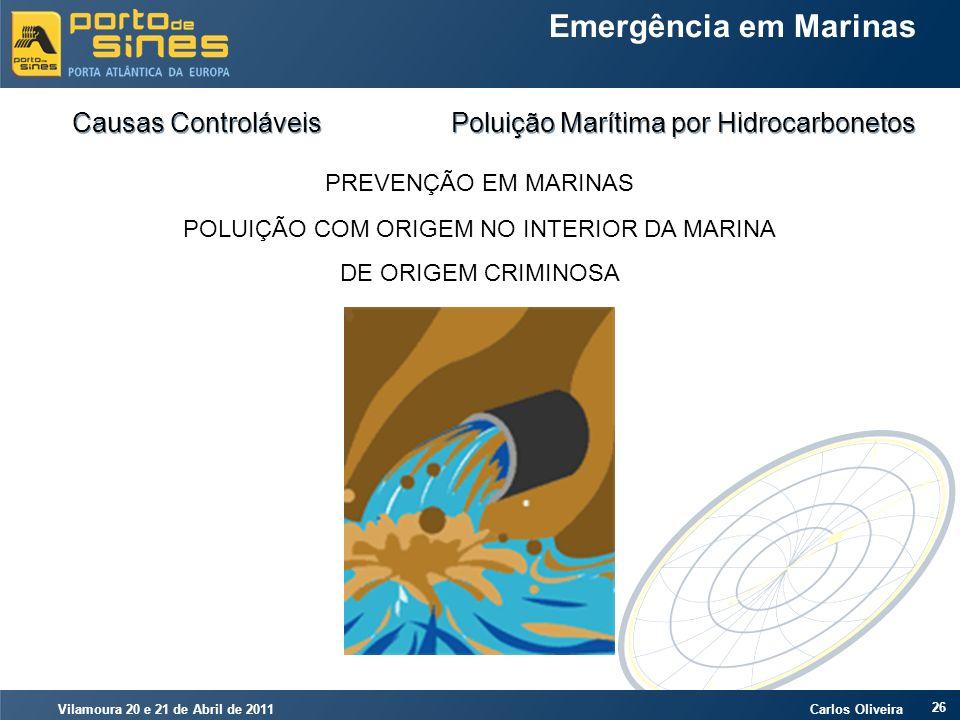 Vilamoura 20 e 21 de Abril de 2011 Carlos Oliveira 26 Emergência em Marinas Causas Controláveis Poluição Marítima por Hidrocarbonetos PREVENÇÃO EM MAR