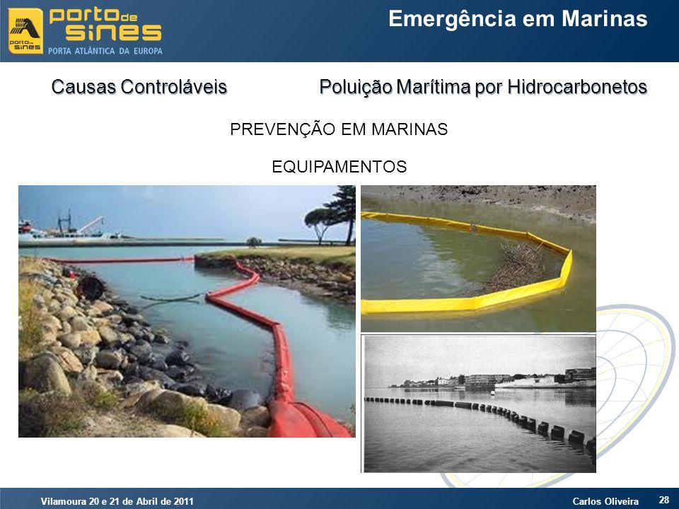 Vilamoura 20 e 21 de Abril de 2011 Carlos Oliveira 28 Emergência em Marinas Causas Controláveis Poluição Marítima por Hidrocarbonetos PREVENÇÃO EM MAR