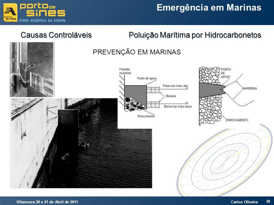 Vilamoura 20 e 21 de Abril de 2011 Carlos Oliveira 30 Emergência em Marinas Causas Controláveis Poluição Marítima por Hidrocarbonetos PREVENÇÃO EM MAR
