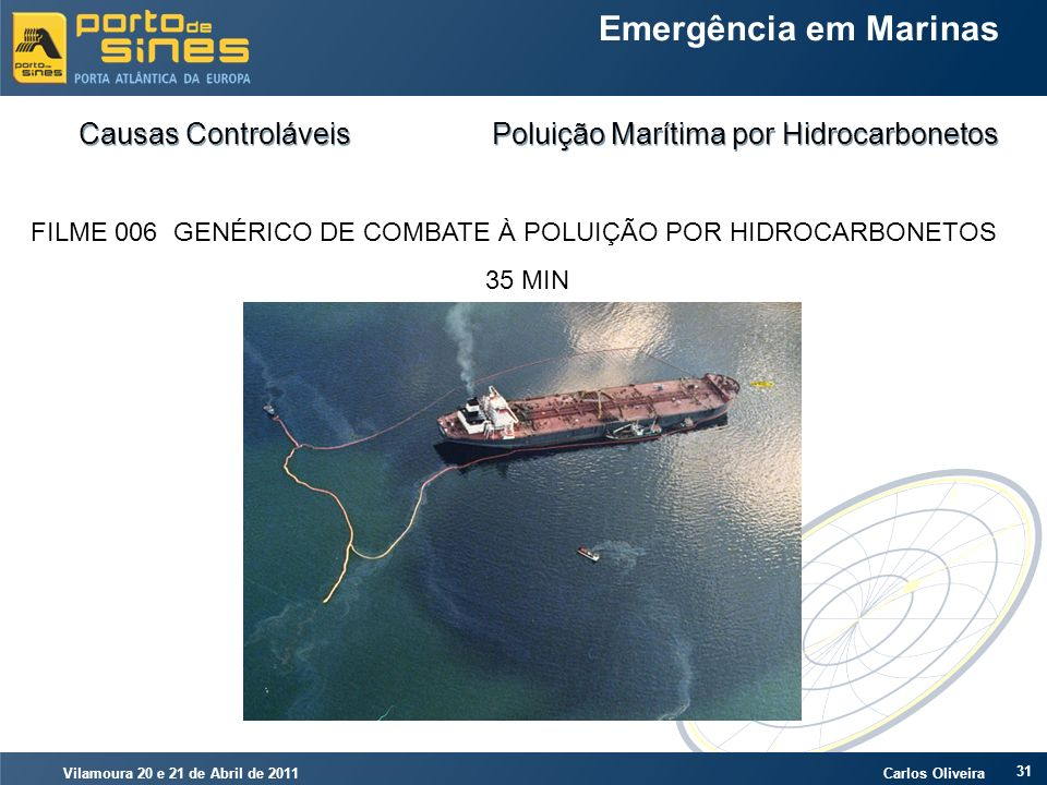 Vilamoura 20 e 21 de Abril de 2011 Carlos Oliveira 31 Emergência em Marinas Causas Controláveis Poluição Marítima por Hidrocarbonetos FILME 006 GENÉRI