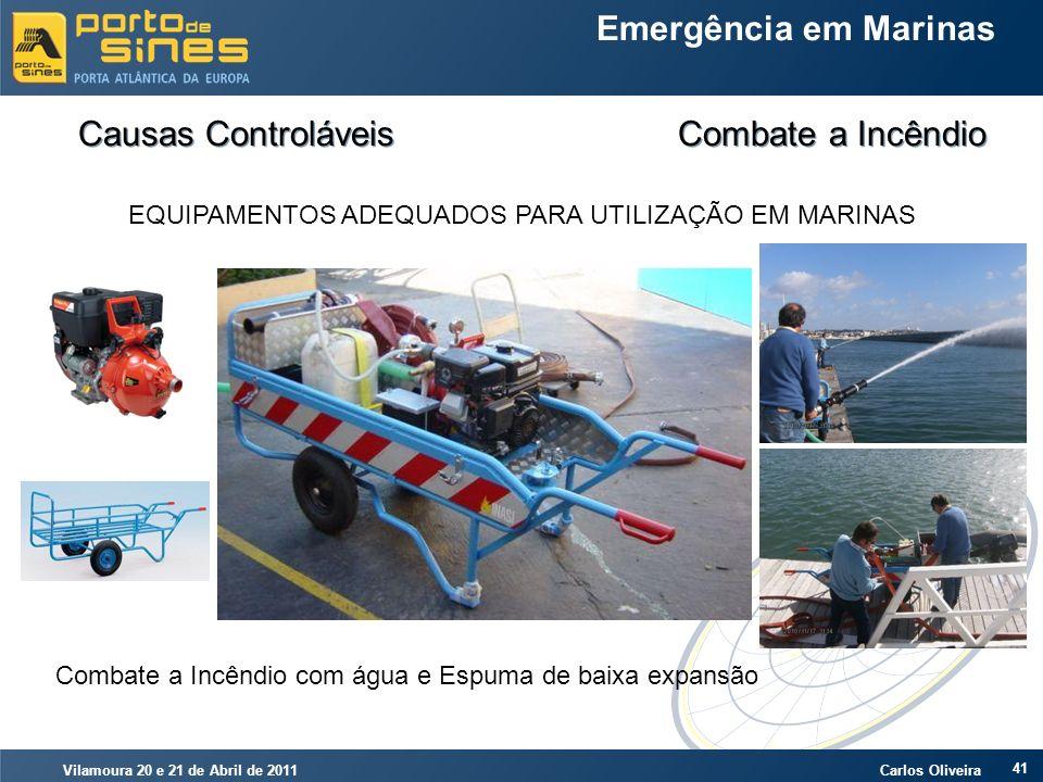 Vilamoura 20 e 21 de Abril de 2011 Carlos Oliveira 41 Emergência em Marinas Causas Controláveis Combate a Incêndio EQUIPAMENTOS ADEQUADOS PARA UTILIZA