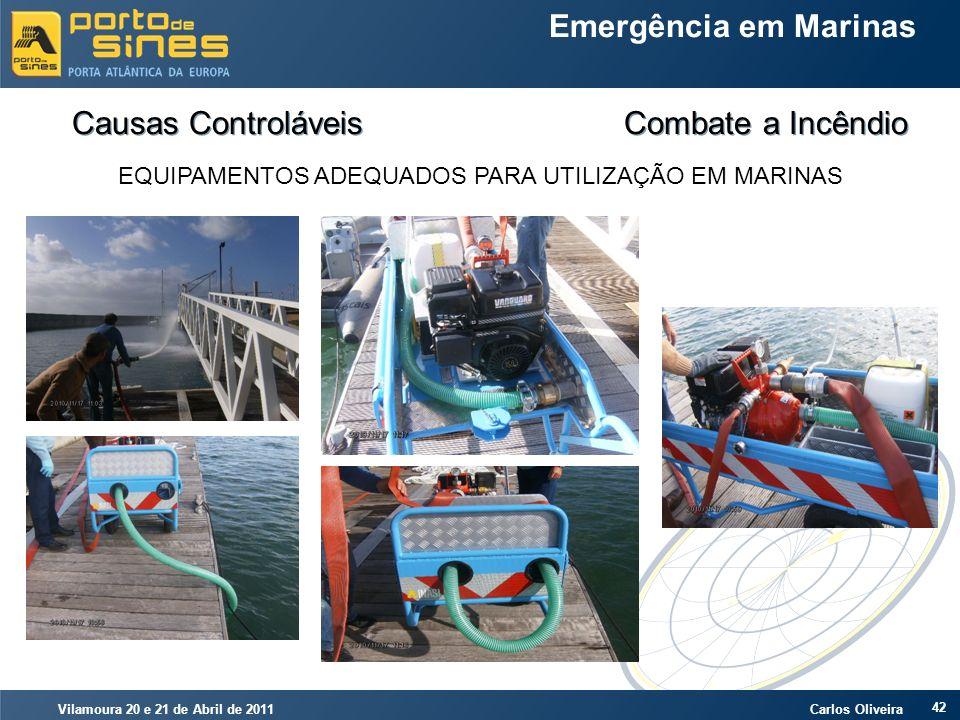 Vilamoura 20 e 21 de Abril de 2011 Carlos Oliveira 42 Emergência em Marinas Causas Controláveis Combate a Incêndio EQUIPAMENTOS ADEQUADOS PARA UTILIZA