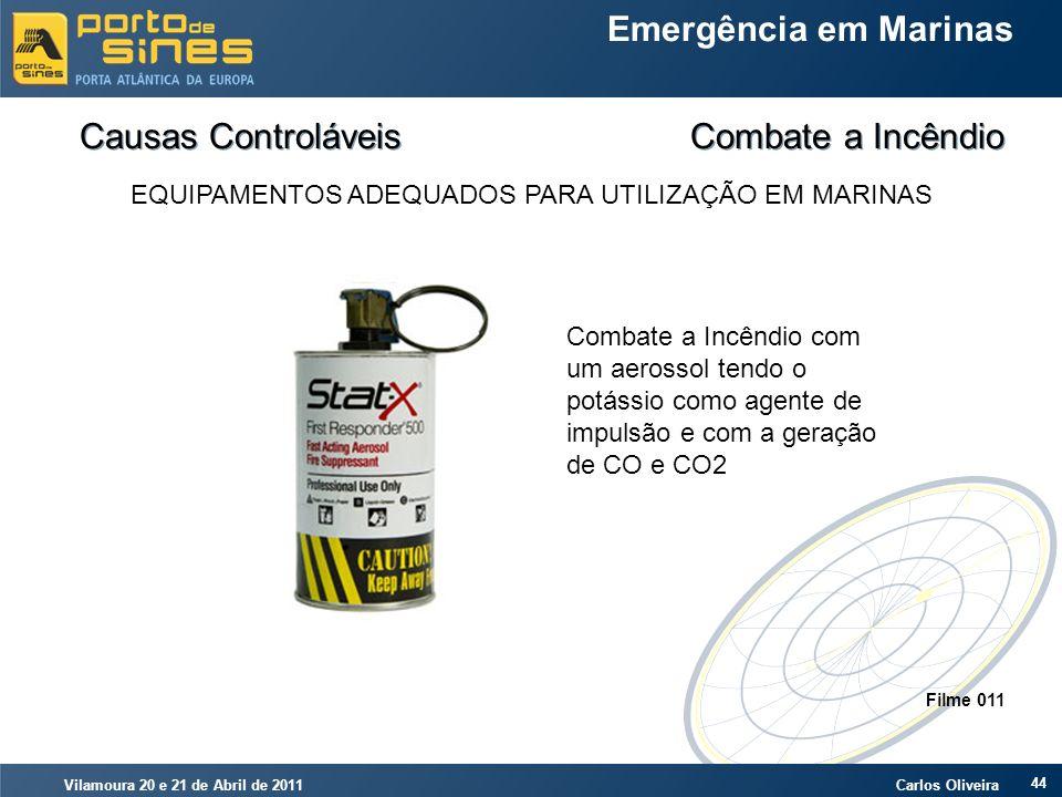 Vilamoura 20 e 21 de Abril de 2011 Carlos Oliveira 44 Emergência em Marinas Causas Controláveis Combate a Incêndio EQUIPAMENTOS ADEQUADOS PARA UTILIZA