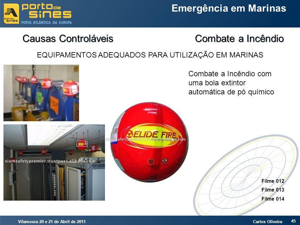 Vilamoura 20 e 21 de Abril de 2011 Carlos Oliveira 45 Emergência em Marinas Causas Controláveis Combate a Incêndio EQUIPAMENTOS ADEQUADOS PARA UTILIZA