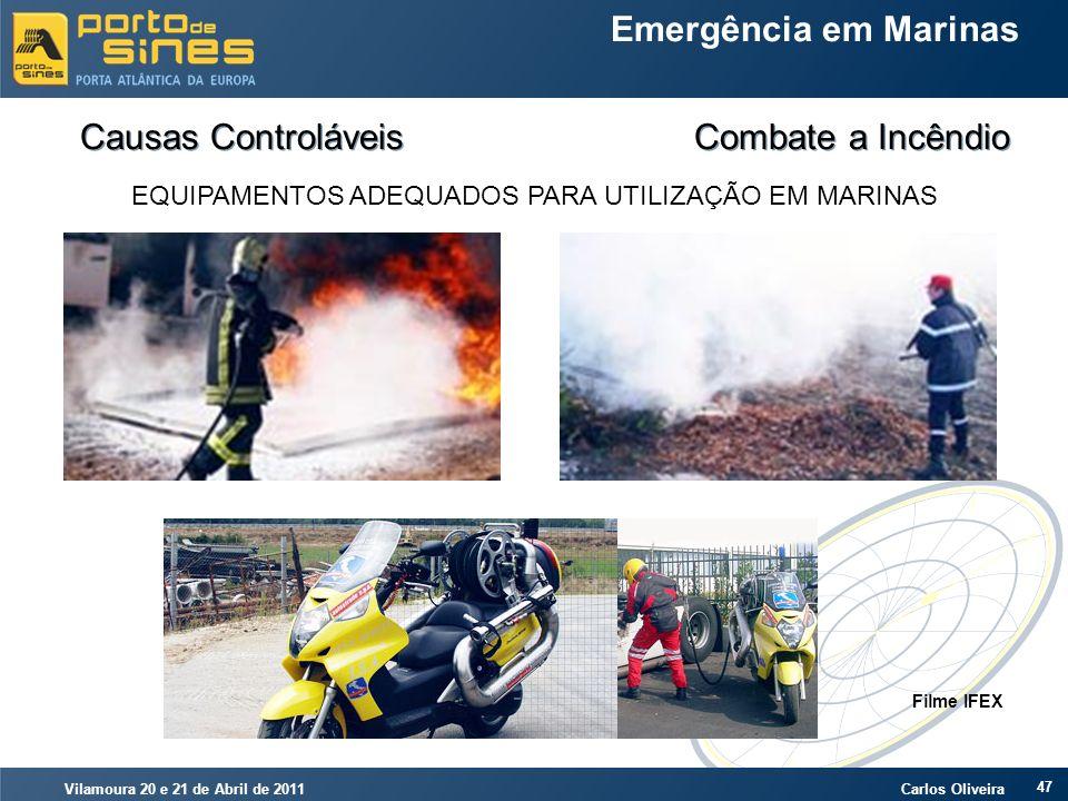 Vilamoura 20 e 21 de Abril de 2011 Carlos Oliveira 47 Emergência em Marinas Causas Controláveis Combate a Incêndio EQUIPAMENTOS ADEQUADOS PARA UTILIZA