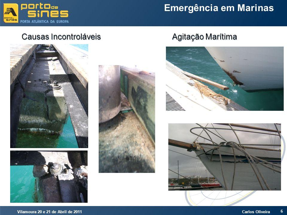 Vilamoura 20 e 21 de Abril de 2011 Carlos Oliveira 17 Emergência em Marinas Causas Controláveis Poluição Marítima por Hidrocarbonetos