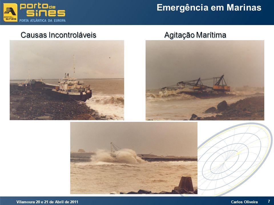 Vilamoura 20 e 21 de Abril de 2011 Carlos Oliveira 18 Emergência em Marinas Causas Controláveis Poluição Marítima por Hidrocarbonetos CONCEITOS HIDRÓFILO E HIDRÓFOBO OLEOFÍLICO PREVENÇÃO E COMBATE