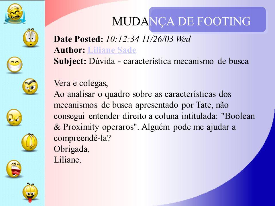 MUDANÇA DE FOOTING Date Posted: 10:12:34 11/26/03 Wed Author: Liliane Sade Subject: Dúvida - característica mecanismo de busca Vera e colegas, Ao anal