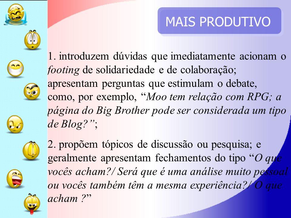 MAIS PRODUTIVO 1. introduzem dúvidas que imediatamente acionam o footing de solidariedade e de colaboração; apresentam perguntas que estimulam o debat