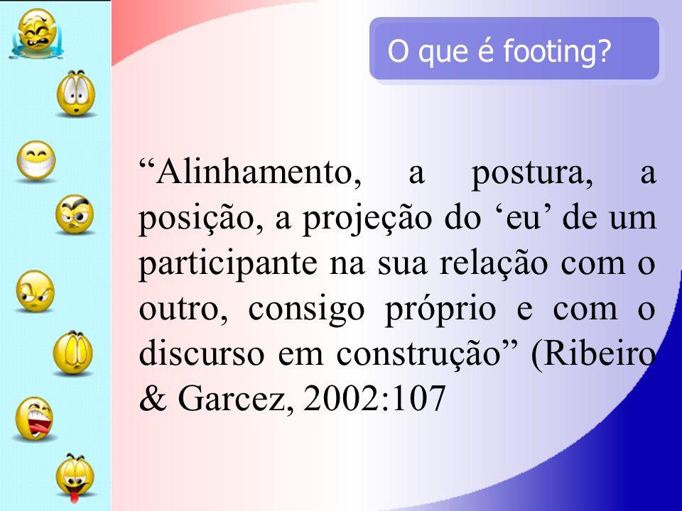 O que é footing? Alinhamento, a postura, a posição, a projeção do eu de um participante na sua relação com o outro, consigo próprio e com o discurso e