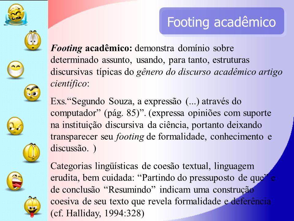 Footing acadêmico Footing acadêmico: demonstra domínio sobre determinado assunto, usando, para tanto, estruturas discursivas típicas do gênero do disc