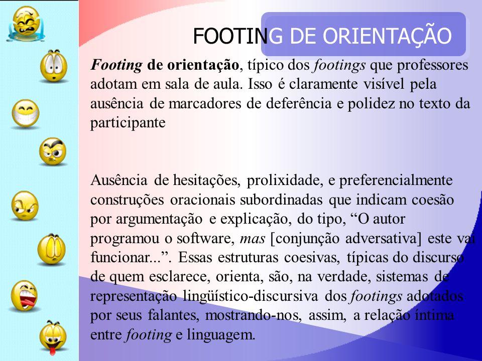 FOOTING DE ORIENTAÇÃO Footing de orientação, típico dos footings que professores adotam em sala de aula. Isso é claramente visível pela ausência de ma