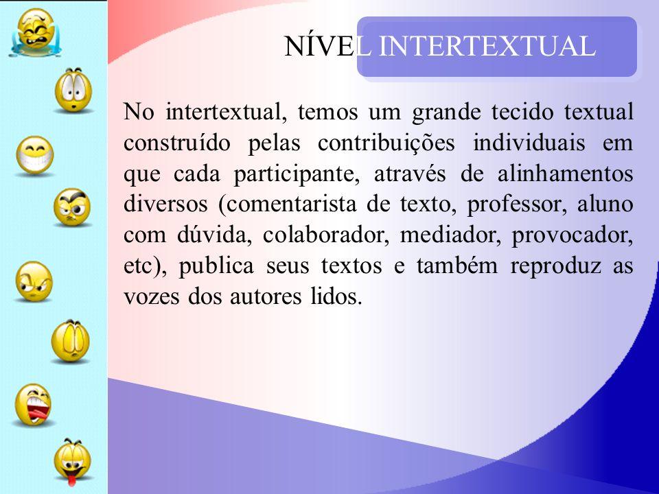 NÍVEL INTERTEXTUAL No intertextual, temos um grande tecido textual construído pelas contribuições individuais em que cada participante, através de ali