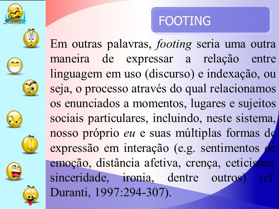 FOOTING Os footings dos falantes são mantidos tanto através de seus próprios comportamentos quanto das escolhas lingüísticas que os interlocutores empregam para expressarem suas intenções comunicativas.