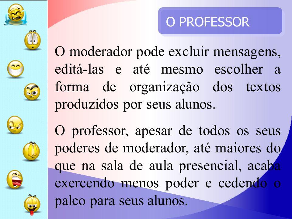 O PROFESSOR O moderador pode excluir mensagens, editá-las e até mesmo escolher a forma de organização dos textos produzidos por seus alunos. O profess