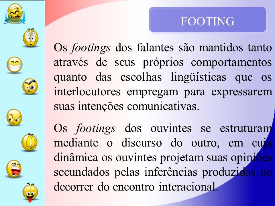 FOOTING Os footings dos falantes são mantidos tanto através de seus próprios comportamentos quanto das escolhas lingüísticas que os interlocutores emp