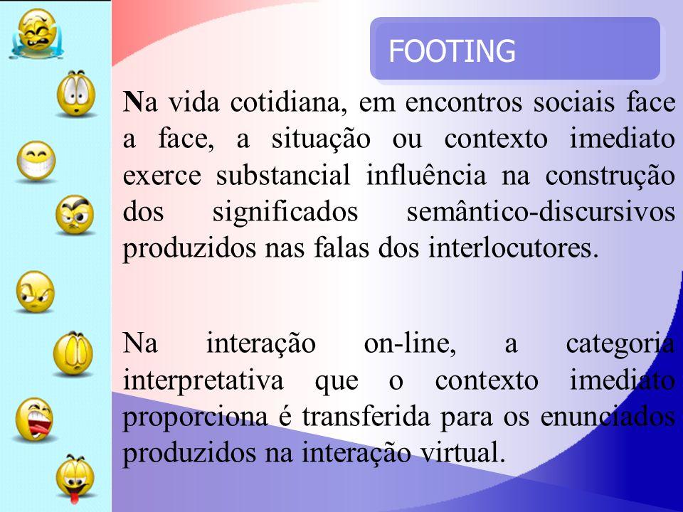 FOOTING Na vida cotidiana, em encontros sociais face a face, a situação ou contexto imediato exerce substancial influência na construção dos significa