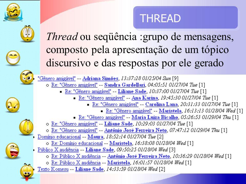 THREAD Thread ou seqüência :grupo de mensagens, composto pela apresentação de um tópico discursivo e das respostas por ele gerado