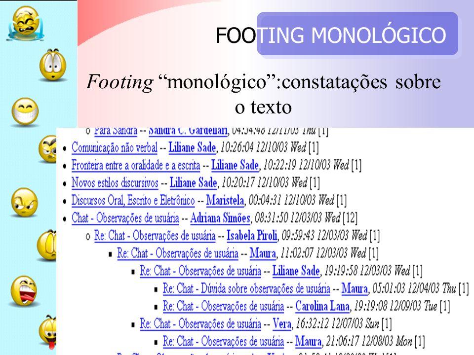 FOOTING MONOLÓGICO Footing monológico:constatações sobre o texto