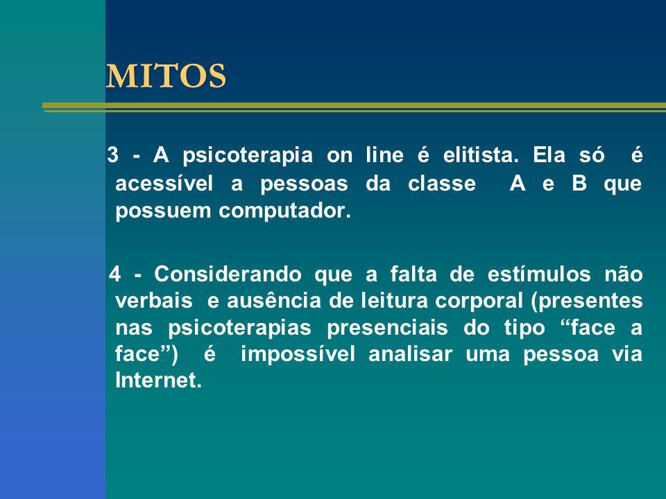 MITOS 3 - A psicoterapia on line é elitista.