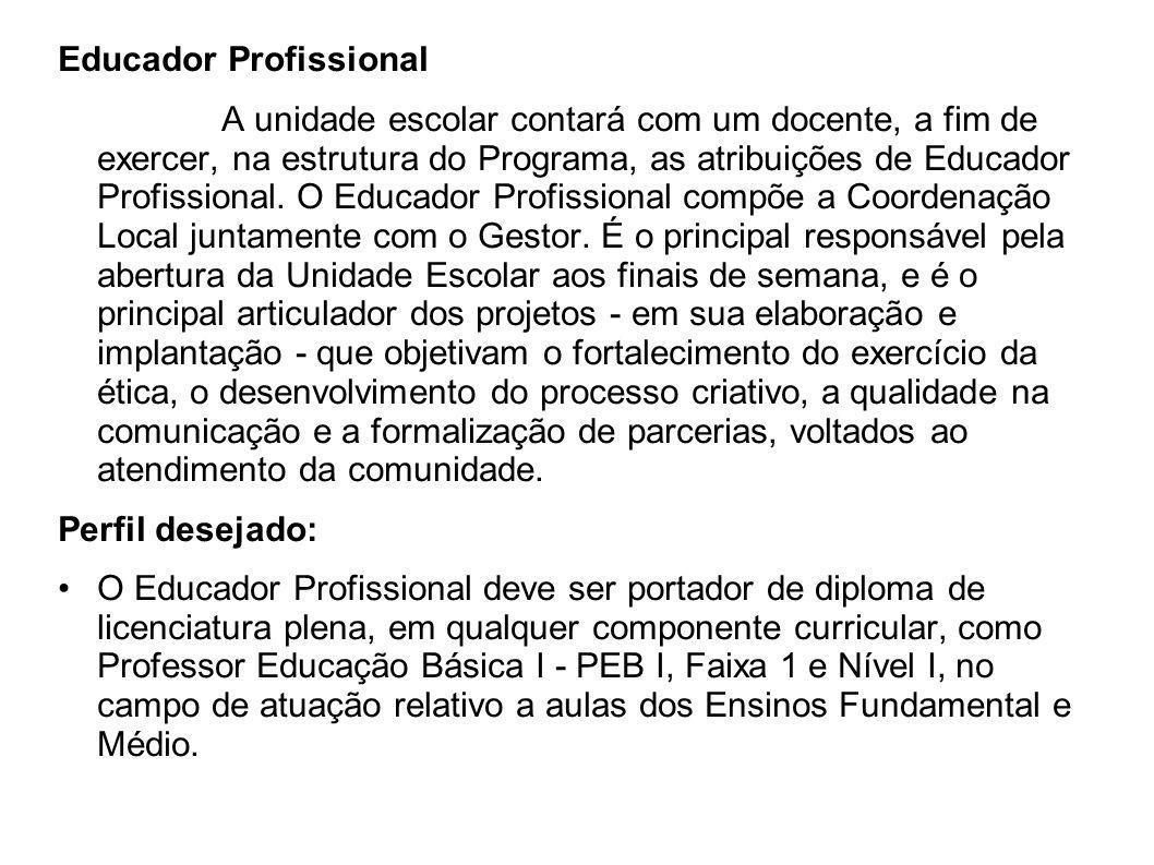 Educador Profissional A unidade escolar contará com um docente, a fim de exercer, na estrutura do Programa, as atribuições de Educador Profissional. O