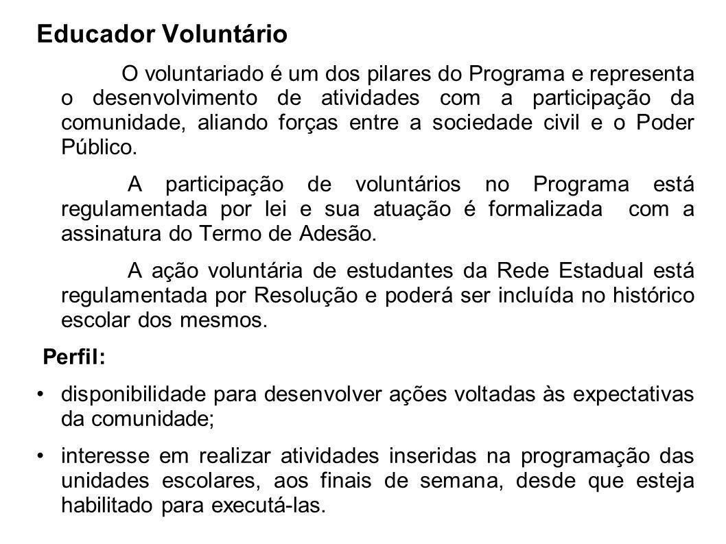 Educador Voluntário O voluntariado é um dos pilares do Programa e representa o desenvolvimento de atividades com a participação da comunidade, aliando