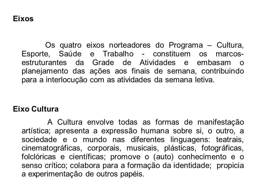 Eixos Os quatro eixos norteadores do Programa – Cultura, Esporte, Saúde e Trabalho - constituem os marcos- estruturantes da Grade de Atividades e emba