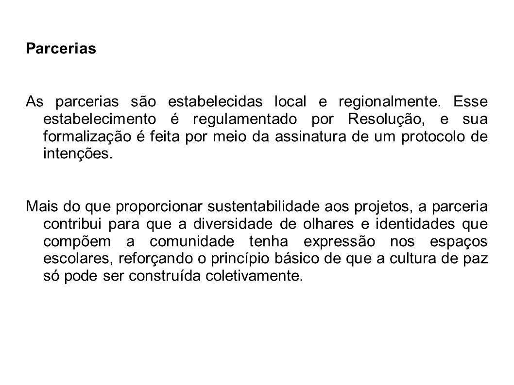Parcerias As parcerias são estabelecidas local e regionalmente. Esse estabelecimento é regulamentado por Resolução, e sua formalização é feita por mei