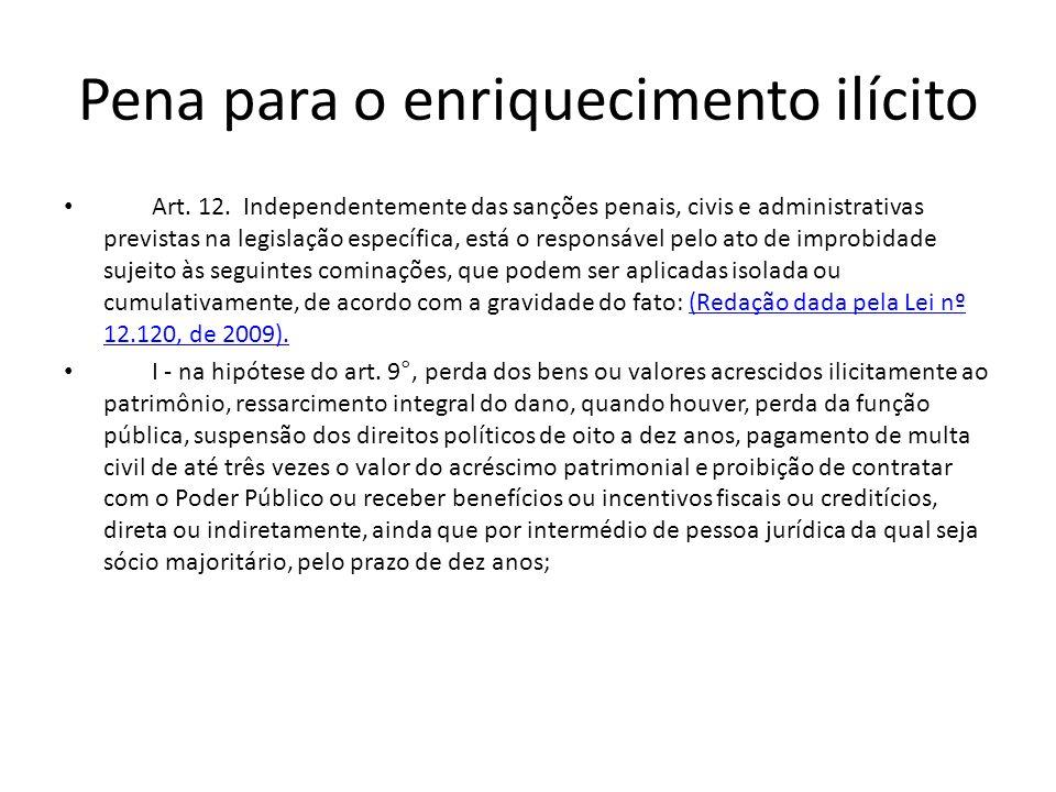 Pena para o enriquecimento ilícito Art. 12. Independentemente das sanções penais, civis e administrativas previstas na legislação específica, está o r