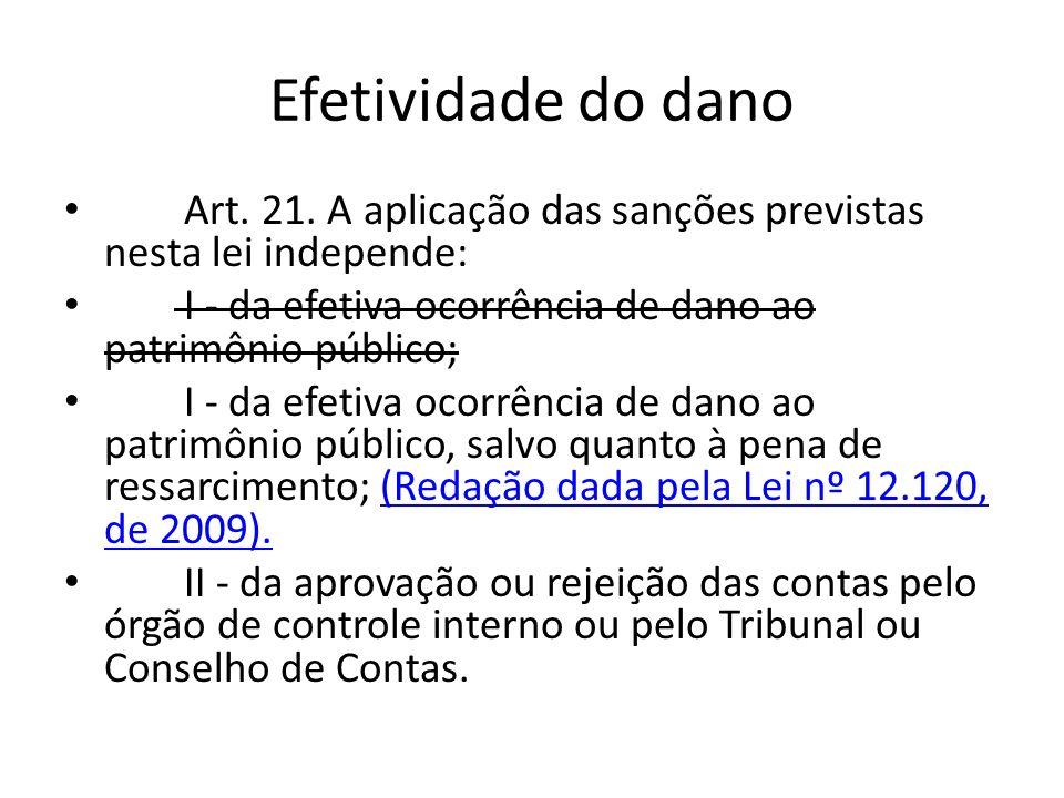 Efetividade do dano Art. 21. A aplicação das sanções previstas nesta lei independe: I - da efetiva ocorrência de dano ao patrimônio público; I - da ef