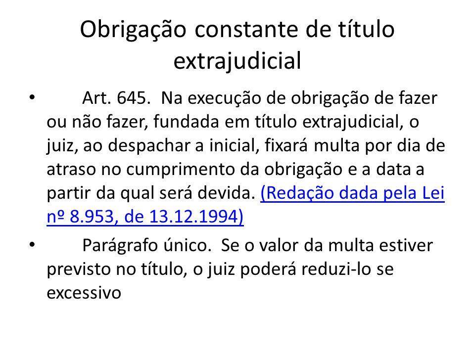 Obrigação constante de título extrajudicial Art. 645. Na execução de obrigação de fazer ou não fazer, fundada em título extrajudicial, o juiz, ao desp