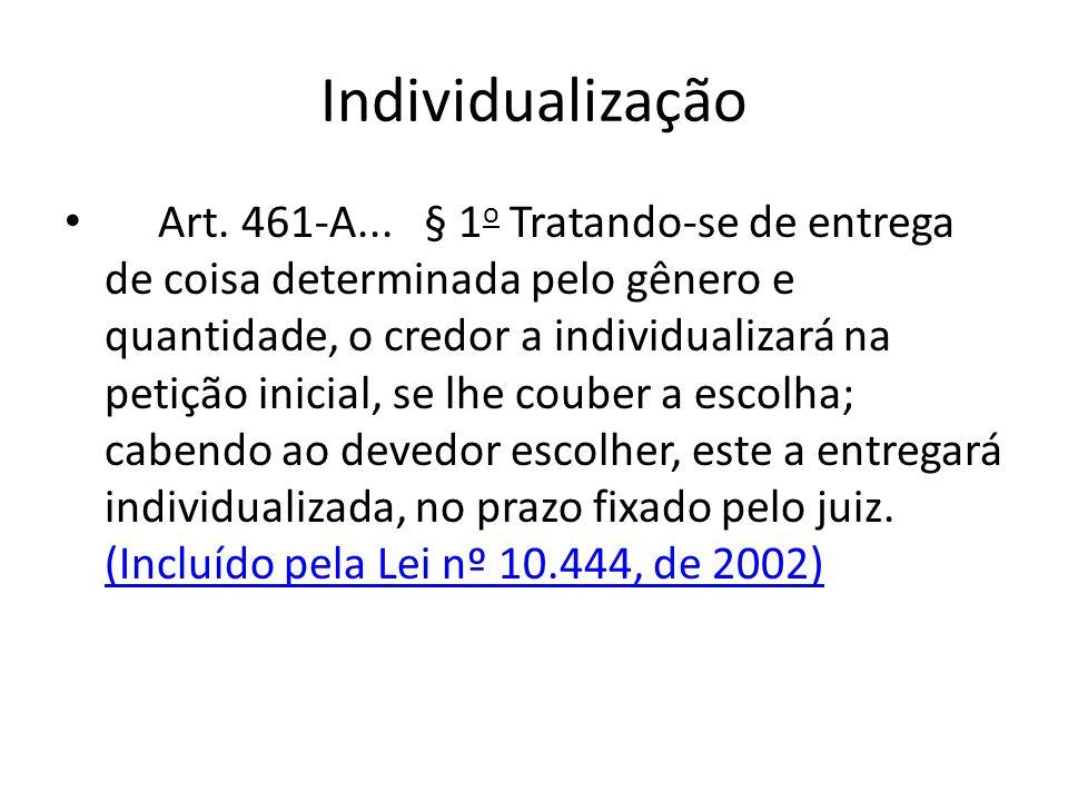 Individualização Art. 461-A... § 1 o Tratando-se de entrega de coisa determinada pelo gênero e quantidade, o credor a individualizará na petição inici