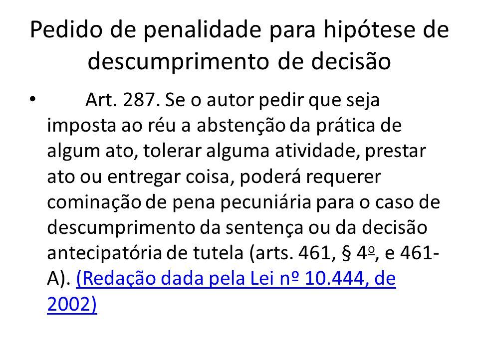 Pedido de penalidade para hipótese de descumprimento de decisão Art. 287. Se o autor pedir que seja imposta ao réu a abstenção da prática de algum ato