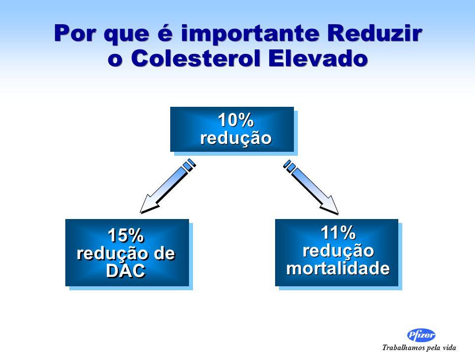 Trabalhamos pela vida Por que é importante Reduzir o Colesterol Elevado 10% redução 10% redução 15% redução de DAC 15% redução de DAC 11% redução mort